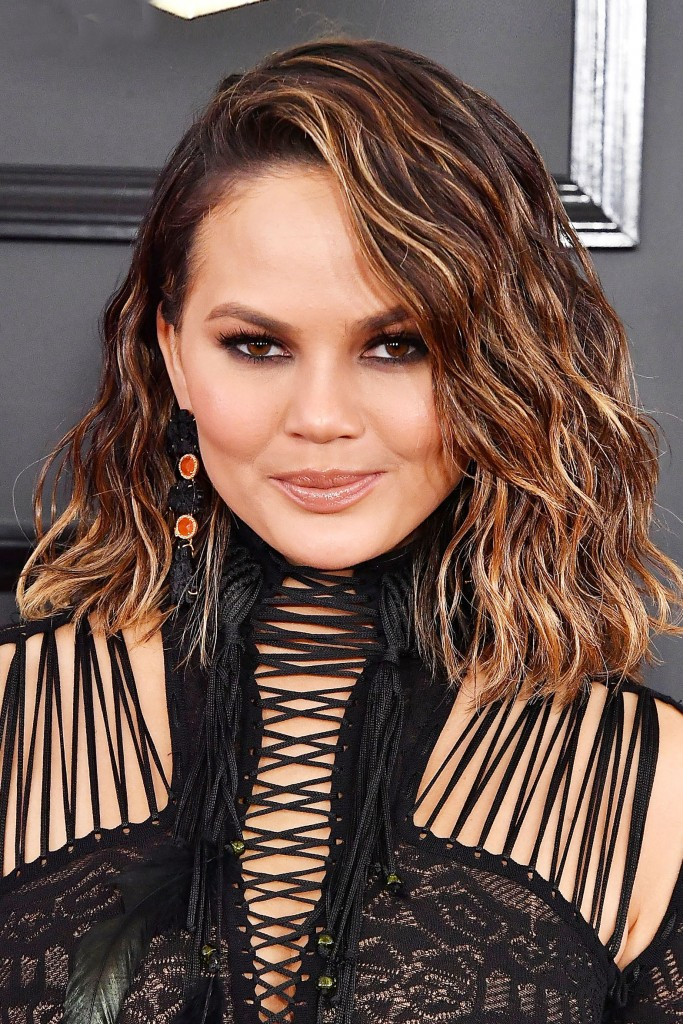 LOS ANGELES, CA - FEBRUARY 12:  Chrissy Teigen arrives at the 59th GRAMMY Awards on February 12, 2017 in Los Angeles, California.  (Photo by Steve Granitz/WireImage)